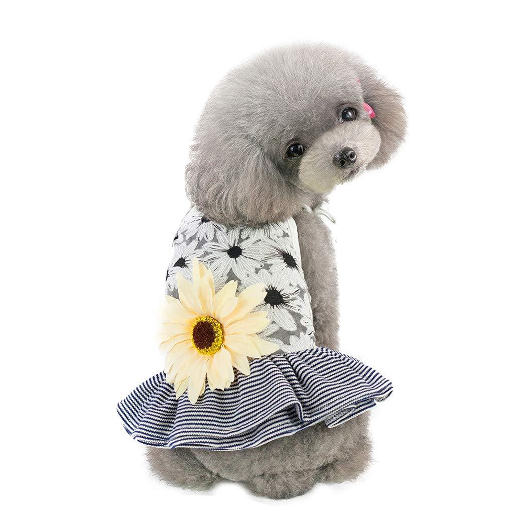 SuperUS Pet Summer T-Shirt Sun Flower Sling Gauze Tutu Dress Pet Dog Bowknot Princess Clothes Pet Only for Small Dog