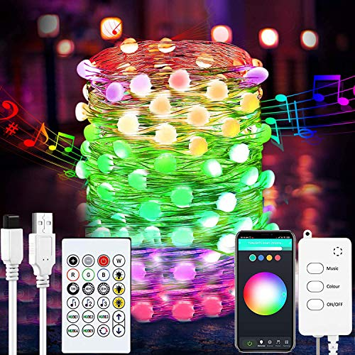 Smart Fairy String Lights - Fairy Lights with Music Mode App Remote Control RGB Color Changing Timer Compatible with Google Home Alexa USB Powered for Christmas Decoration