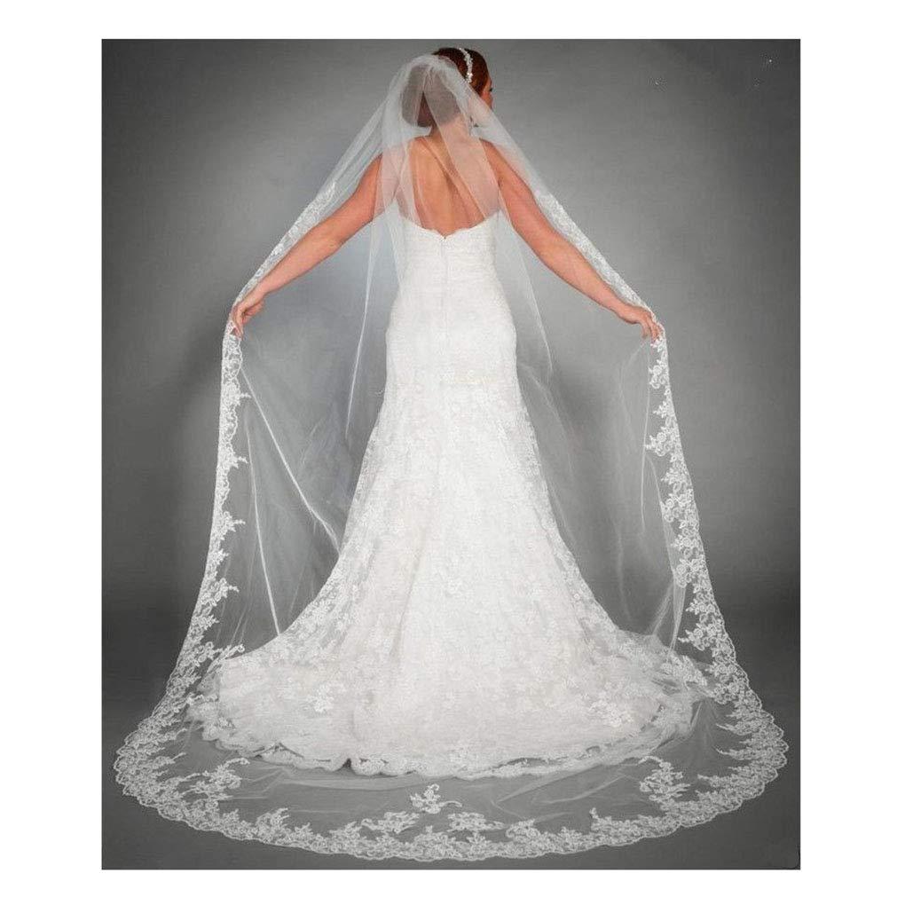 Yalice Womens Applique Bride Wedding Veil Long Chapel Length 1 Tier Bridal Veil Soft Tulle Hair Accessories