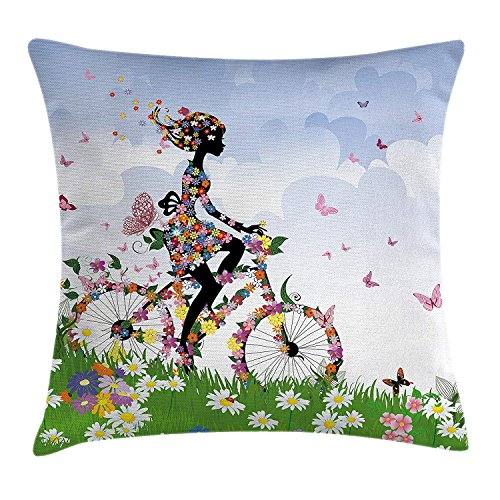 Da Young Outdoor Throw Pillow Cushion Cover, Woman Riding Vintage Romantic Bike with Spring Time Flowers in Basket Nature Image, Decorative Square Accent Pillow Case, Multicolor