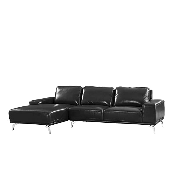 Divano Roma Furniture - Modern Real Leather Sectional Sofa, L-Shape Couch w/Chaise on Left (Black)