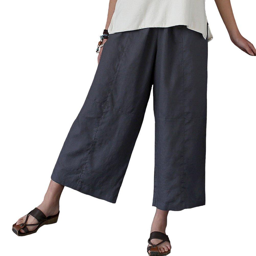 Aeneontrue Women's 100% Linen Capri Pants Casual Patchwork Cropped Trousers with Elastic Waist Gray L