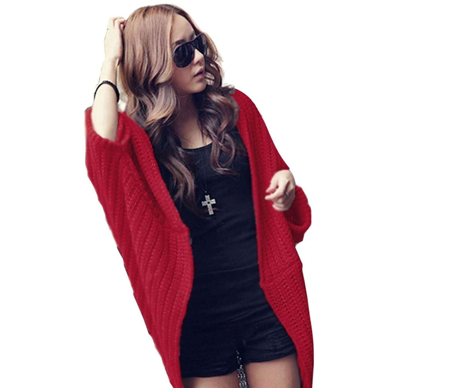 SFY Lady Batwing Casual Loose Sweater Coat Knitting Long Cardigan Shawl Outwear
