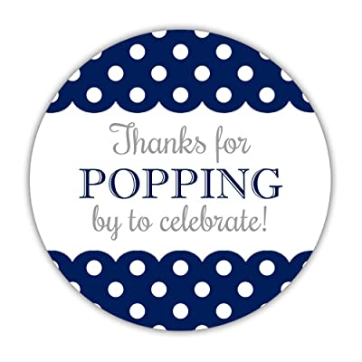40 Thanks for Popping by Stickers Blue, 2 inches - Thanks for Celebrating with us Stickers (Navy): Health & Personal Care