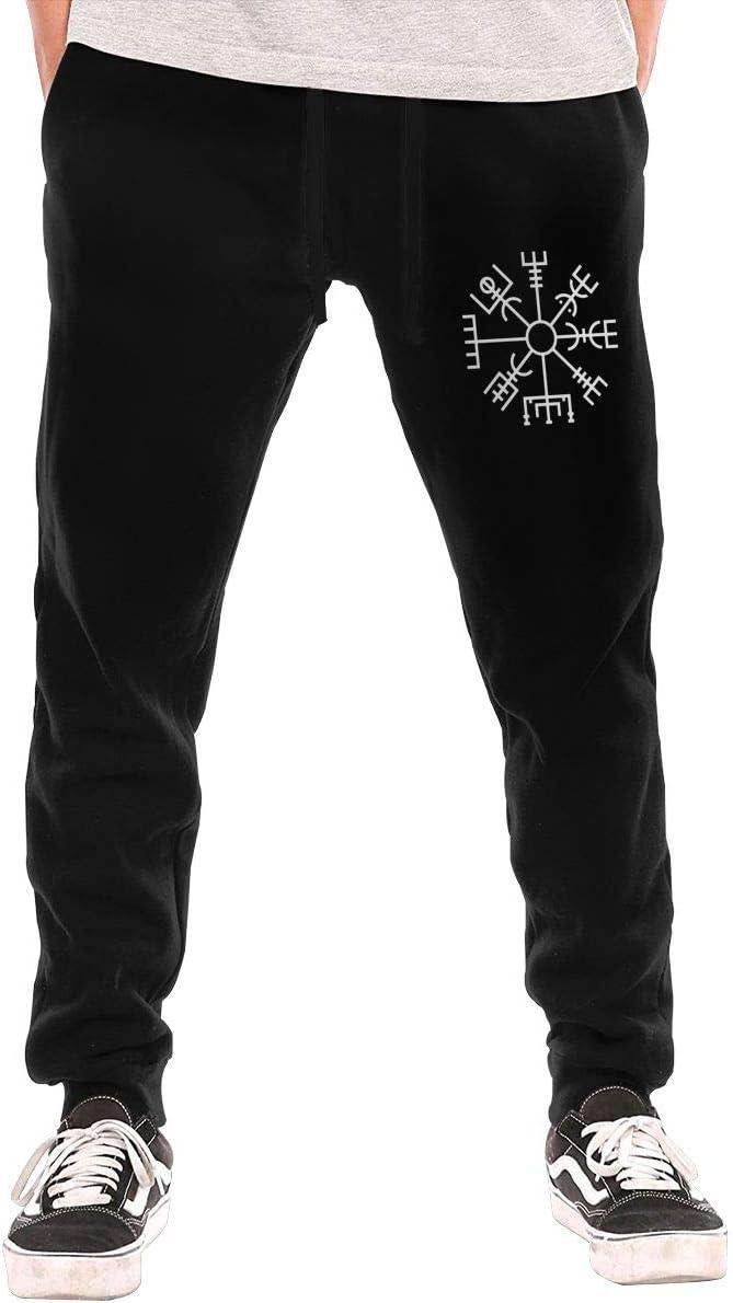 Viking Symbol Nordic Compass Snapback Drawstring Waist,100/% Cotton,Elastic Waist Cuffed,Jogger Sweatpants Black