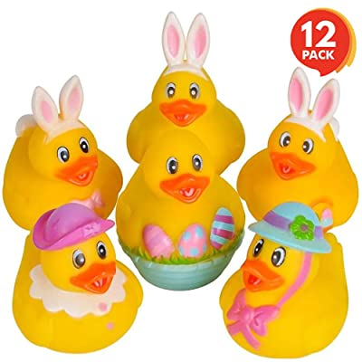 ArtCreativity 2.5 Inch Assorted Easter Rubber Duckies for Kids, Pack of 12, Mini Duck Surprise Toys for Filling Easter Eggs, Easter Party Favors, Egg Hunt Supplies, Easter Themed Bath Tub Toys: Toys & Games