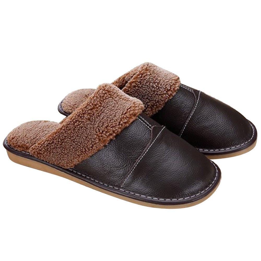 1Pair Men Winter Warm Soft Anti-slip Genuine Leather Slippers for Bedroom Living room Office Apartment Hotel EU 39-40/ US 6.5-7 Size Dark Brown
