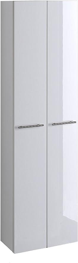 lifestyle4living Bad Hochschrank in Weiß Hochglanz   Badschrank hat 2 Türen  und 3 Einlegeböden   Schrank ist 50 cm breit und 181 cm hoch