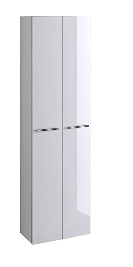 lifestyle4living Bad Hochschrank in Weiß Hochglanz | Badschrank hat 2 Türen  und 3 Einlegeböden | Schrank ist 50 cm breit und 181 cm hoch