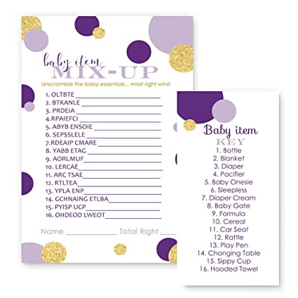 Amazon Com Purple And Gold Baby Shower Game Word Scramble For Girls