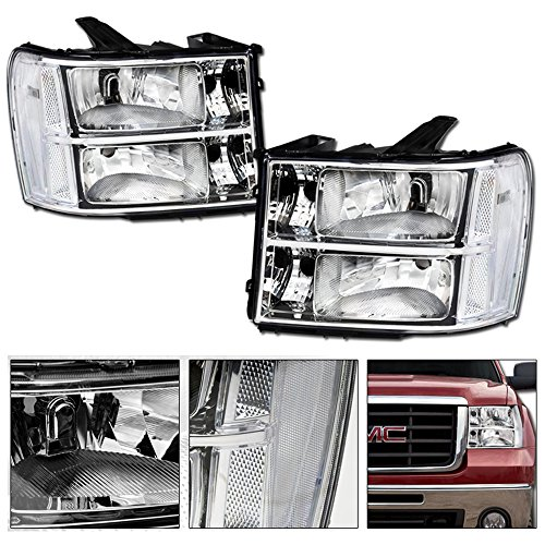 VXMOTOR 2007-2014 GMC Sierra 1500 / 2500 HD / 3500 HD / Denali OE Factory Style Euro Chrome Crystal Clear Housing Head Lights Headlights Headlamps With Turn Signal Parking Light - Headlights Gmc Euro