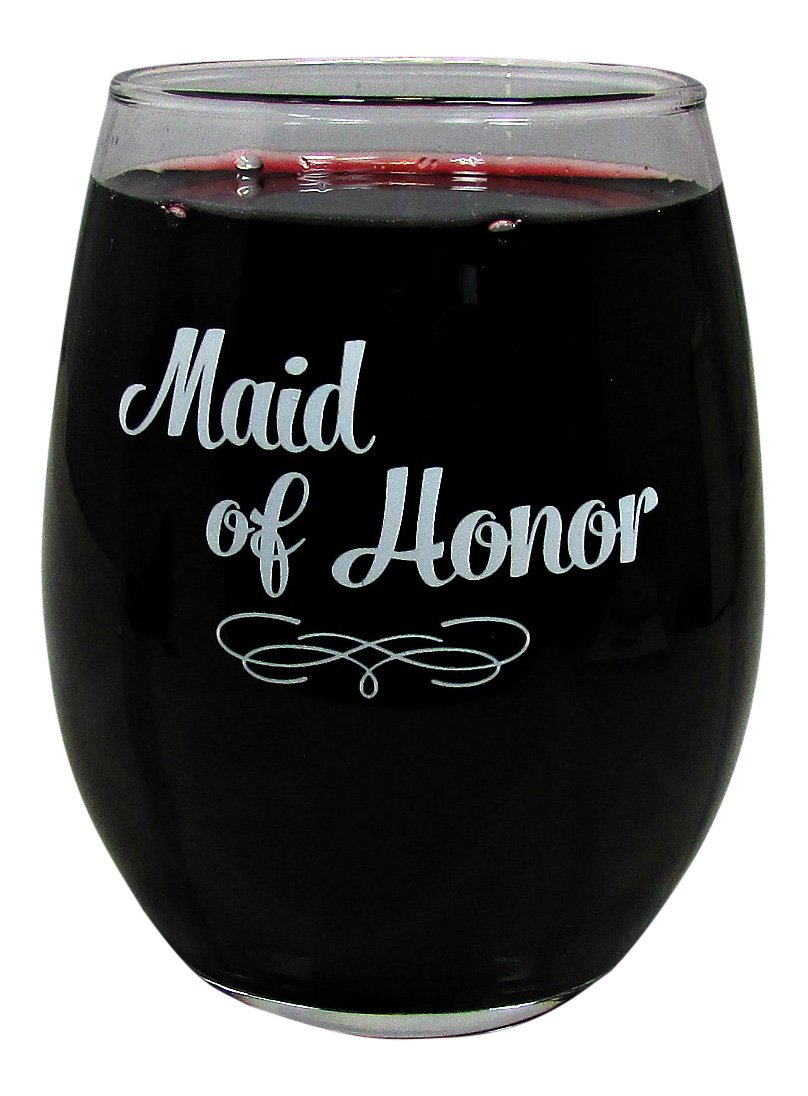 Wedding Party 15 Ounce Glass Stemless Wine Glass (Maid Of Honor)