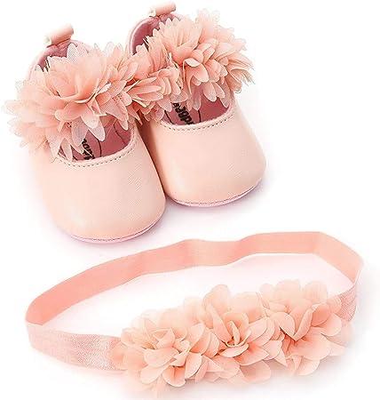 Zapatos Bebe Niña Primeros Pasos y Diadema de Flores 0-18 Mes K-youth Unisex Zapatos Bebe Niña Bautizo Zapatos Bebé Recien Nacida Suave Suela Zapatos para Bebé Botines Botas Niño