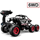 SZJJX 6WD RC Cars, Remote Control Off-Road Climbing Truck, 1/14 Scale 2.4Ghz Electric Radio Controlled Rock Crawler Black