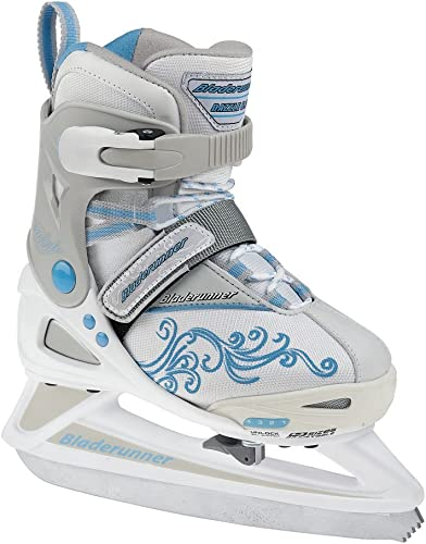 Rollerblade Bladerunner Girls Adjustable Phaser 4 Size Ice Skate White Light Blue, US 11j to 1