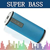 Bluetooth Speaker Powerful Bass, IPX4 Waterproof Wireless Speakerphone with Microphone for Clear Hands-free Call, CSR Stable Signal, 16 Hours Streaming time, AUX Line-in Audio - Basstyle TB-26S Blue