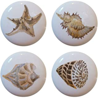 Seashell Ceramic Cabinet Drawer Pull Knobs Set of 4 - Cabinet And ...
