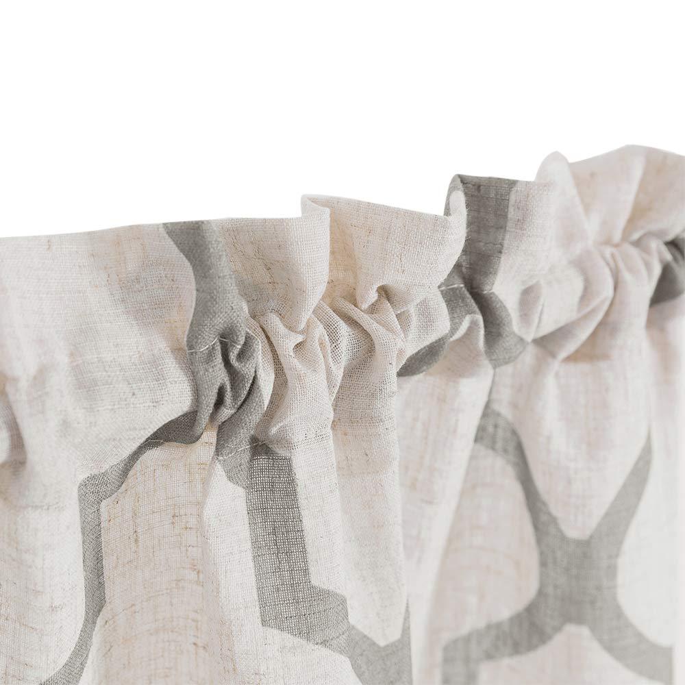 Moroccan Print Tier Curtains Kitchen Flax Linen Blend Textured Curtain Set Cafe Half Window Panels 1 Pair 26 W x 36 L Blue
