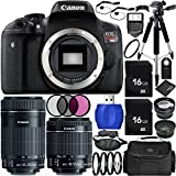 Canon EOS Rebel T6i 24.2 MP DSLR Camera Bundle with 18-55 mm f/3.5-5.6 IS STM Lens, EF-S 55-250 mm f/4-5.6 IS STM Lens, Carrying Case and Accessory Kit (22 Items)