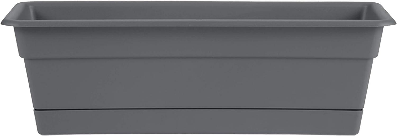 "Bloem DCBT30-908 Dura Cotta Window Box Planter w/Tray 30"" Charcoal"