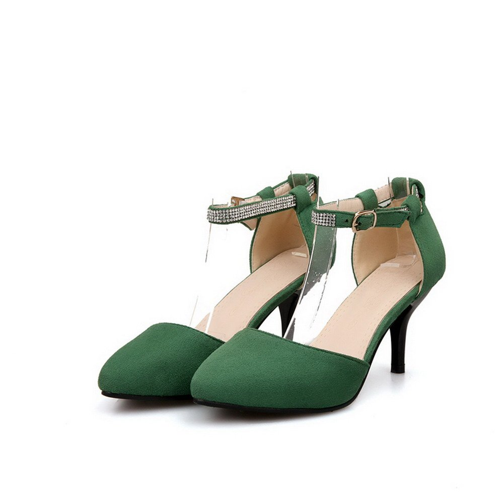 WeenFashion Womens Closed Pointed Toe Kitten Heel Stiletto PU Frosted Solid Pumps with Glass Diamond, Green, 7 B(M) US