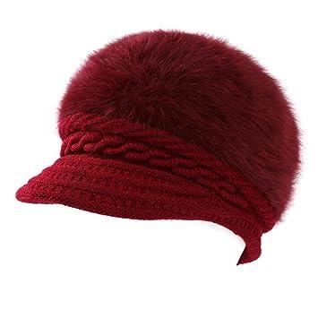 BESTOYARD Sombrero de Gorras de Invierno de Angora para Mujer Gorro de Invierno Hermoso Gorra de Gorro de Invierno para Mujer Dama (Rojo Vino): Amazon.es: ...