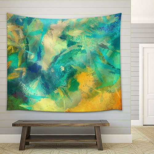 Art Abstract Painted Background with Green Blue and Orange Blots Fabric Wall