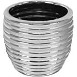 Ceramic bicoloured striped planter 14 cm Moon silver + white