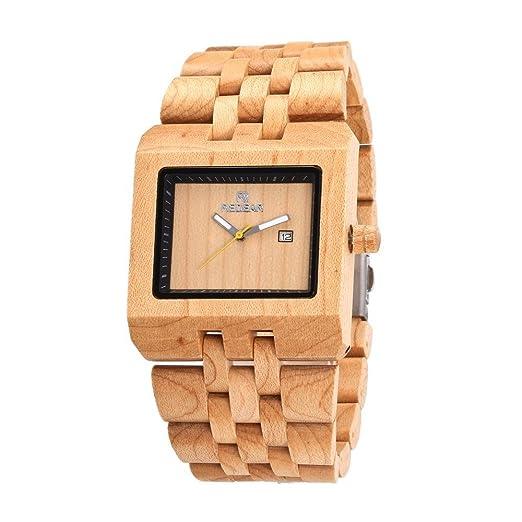 REDEAR Reloj de madera para hombre de negocios Diseño simple Reloj de pulsera de madera para reloj de pulsera analógico de cuarzo analógico: Amazon.es: ...