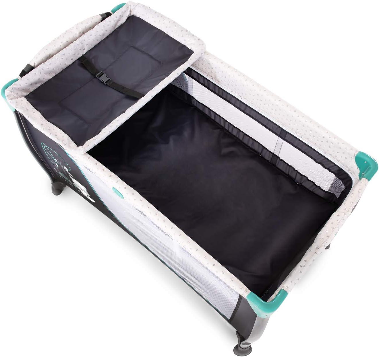 ventana Cuna de viaje 7piezas de 0 meses a 15 kg antivuelco cambiador bolso de red turquesa bolsa de transporte plegable Hauck Sleep N Play Center 3 ruedas doble altura para recien nacido