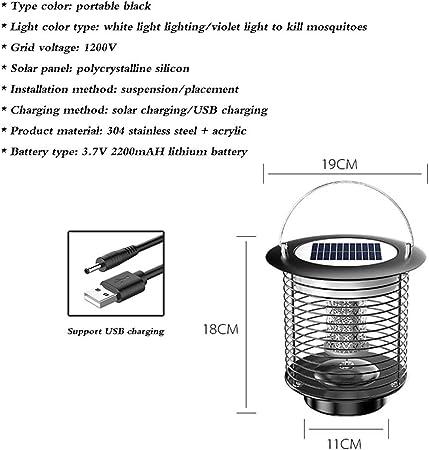 La lámpara antimosquitos, la Trampa Ultravioleta, la lámpara Repelente de Mosquitos para jardín Exterior, la Carga Solar/USB, se Pueden Colgar en el árbol: Amazon.es: Hogar