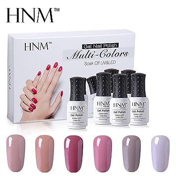 Esmalte de Uñas Semipermanentes Kit Uñas de Gel UV LED Manicura Semipermanente Nude Color Beige 6pcs 8ml de HNM - 001: Amazon.es: Belleza