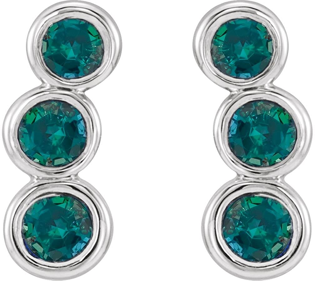 3dc766b14 Amazon.com: Chatham Created Alexandrite Three-Stone Ear Climbers, Sterling  Silver: Jewelry