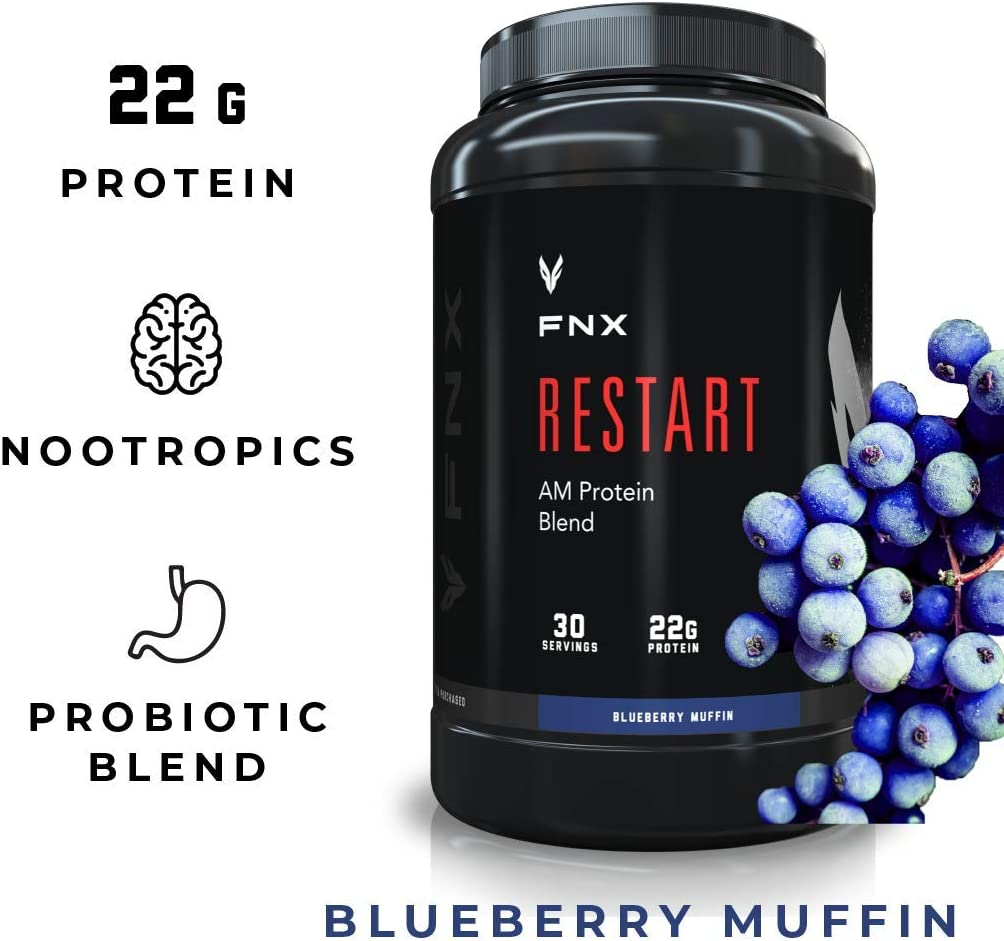 FNX Restart AM Brain Boosting Morning Protein Shake Powder Supplement Blend with Nootropics, Caffeine, Probiotics, and 22 Grams Protein per Serving, Blueberry Muffin