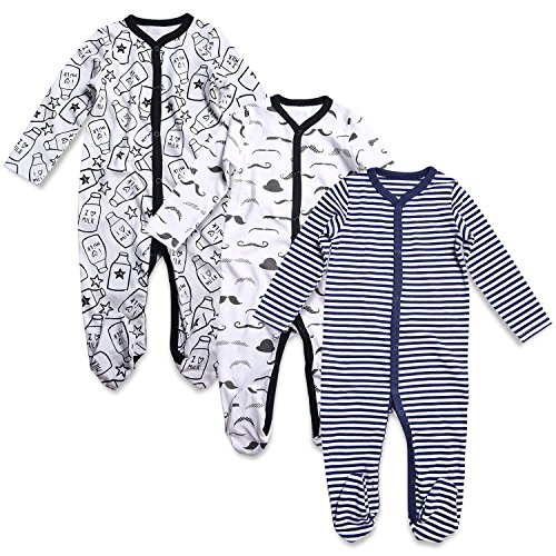 OPAWO Baby Boys' Footed Sleeper Pajamas 3 Pack Long Sleeve Coverall 0-18 Months(6-9 Months,Printed + Striped)