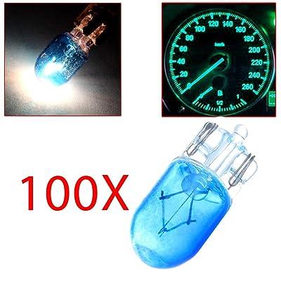 cciyu T10 Halogen Light 194 168 Light Bulb Instrument Gauge Cluster Dash Light Blue Bulbs,100Pack: Automotive
