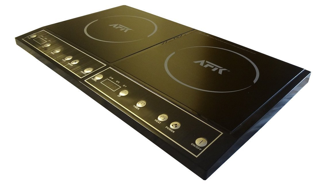 AFK Doppel-Induktionskochfeld Kochplatten 2000W+1400W schwarz  Kochen Kochplatte