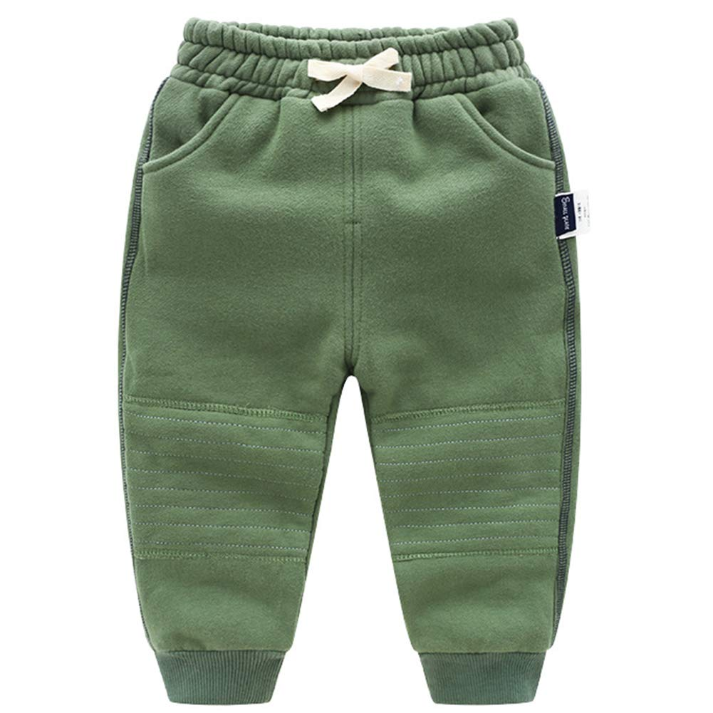 Happy childhood Baby Boys Cotton Elastic Waist Winter Baby Pants Warm Trousers Bottoms Casual Sweatpants Green 120