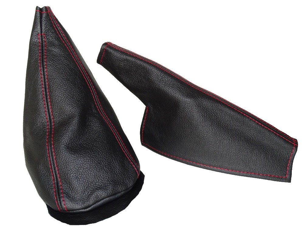 For Mini Cooper Classic up to 2000 Shift /& E brake Boot Black Genuine Leather Red Stitching