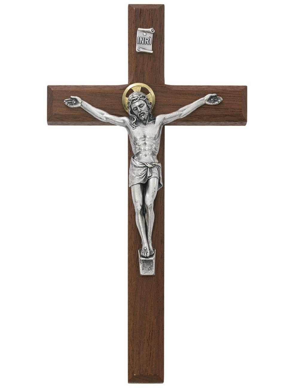 All Patron Saints Beveled Walnut Crucifix Wall Cross with Silver Color Corpus and INRI 8 Inch by All Patron Saints