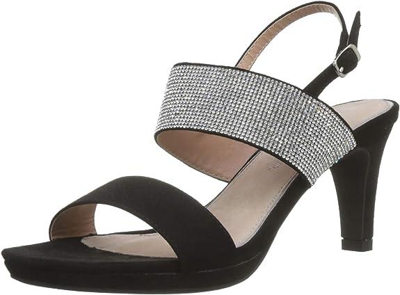 Sandalia negra para fiesta con pulsera tobillera