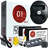 DOT-01 2x Brand Canon EOS 4000D Batteries and Dual Slot USB Charger for Canon EOS 4000D DSLR and Canon 4000D Battery and Charger Bundle for Canon LPE10 LP-E10