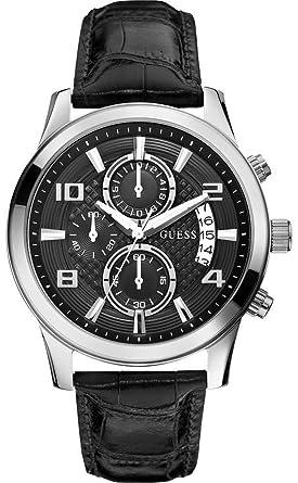 Guess Reloj Cronógrafo para Hombre de Cuarzo con Correa en Cuero W0076G1: Amazon.es: Relojes
