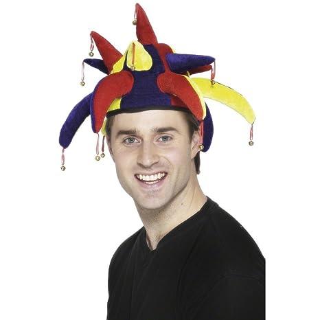 Cappello da giullare berretto copricapo buffone pagliaccio clown Arlecchino  corte carnevale campanellini multicolore
