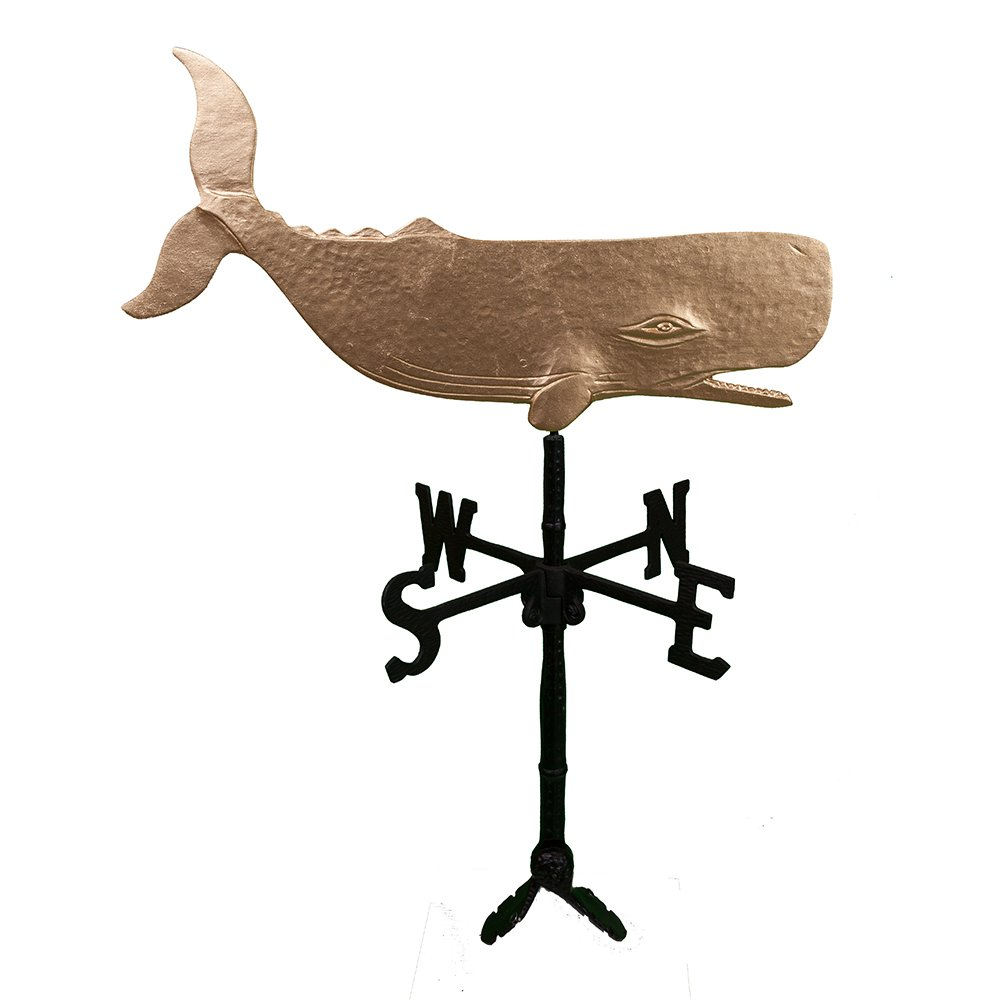 Montague Metal Products 32-Inch Weathervane with Gold Whale Ornament