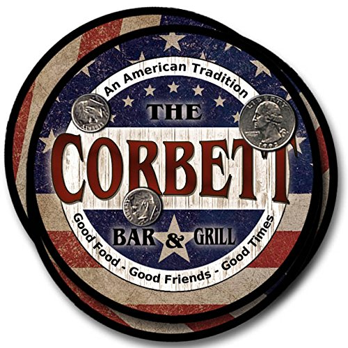 Corbett Bar and Grill Rubber Drink Coasters - 4 Pack