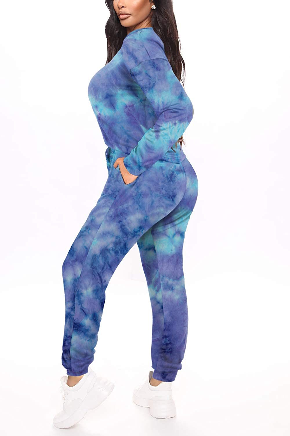 WFTBDREAM Womens Two Piece Outfits Tie Dye Long Sleeve Pullover Pajamas Sets