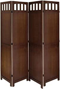 SQUARE FURNITURE Solid Wood Room Screen (White,) (Walnut, Wood)