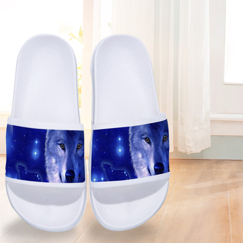 Cool Wolf Pattern Boys Girl Outside Fashion Slippers Indoor Flip Flops Sandals Rubber Flat Shoes