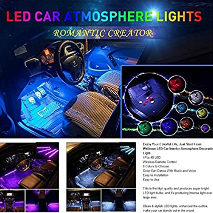 Homyl LED Luces de Tira del Vehículo LED App Control Luces Interiores Sonido Función Activa: Amazon.es: Electrónica